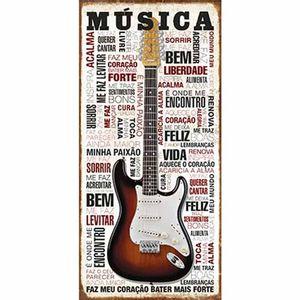 Placa-Decorativa-Litoarte-DHPM3-008-40x19cm-Guitarra-Musica