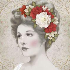 Papel-Decoupage-Adesiva-Litoarte-DAXV-074-15x15cm-Dama-com-Flores-Brancas-e-Vermelhas