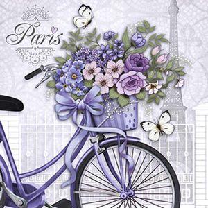 Papel-Decoupage-Adesiva-Litoarte-DAX-060-10x10cm-Bicicleta-com-Flores
