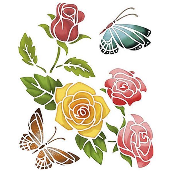 Stencil-Litoarte-25x20cm-Pintura-Simples-STR-012-Rosas-com-Borboleta