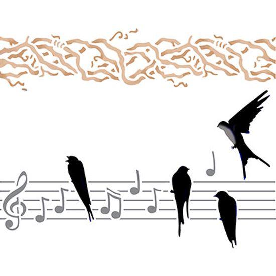 Stencil-Litoarte-25x20cm-Pintura-Simples-STR-016-Passaro-e-Notas-Musicais