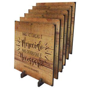 Porta-Copos-Quadrado-em-MDF-Litoarte-KPCL-005-95x95cm-Frases-com-Fundo-de-Madeira