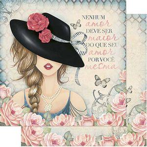 Papel-Scrapbook-Litoarte-SD-772-Dupla-Face-305X305cm-Dama-e-Rosas