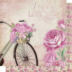 Papel-Scrapbook-Litoarte-SD-572-Dupla-Face-305X305cm-Bicicleta-e-Flores