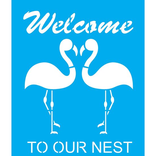 Stencil-Litocart-25x20cm-Pintura-Simples-LSG-122-Flamingos