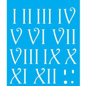 Stencil-Litocart-25x20cm-Pintura-Simples-LSG-128-Algarismos-Romanos