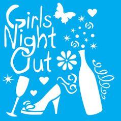 Stencil-Litocart-20x20cm-Pintura-Simples-LSQ-139-Girls-Night-Out