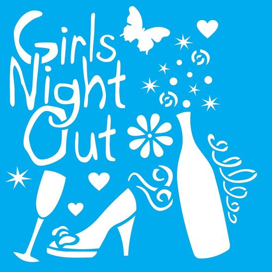 Stencil-Litocart-20x20cm-Pintura-Simples-LSQ-139-Girls-Night-Out