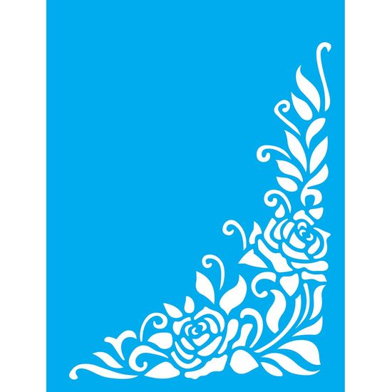 Stencil-Litocart-20x15cm-Pintura-Simples-LSM-092-Cantoneira-Rosas