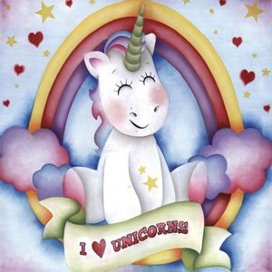 Placa-Decorativa-Litocart-LPQC-071-25x25cm-I-Love-Unicorns