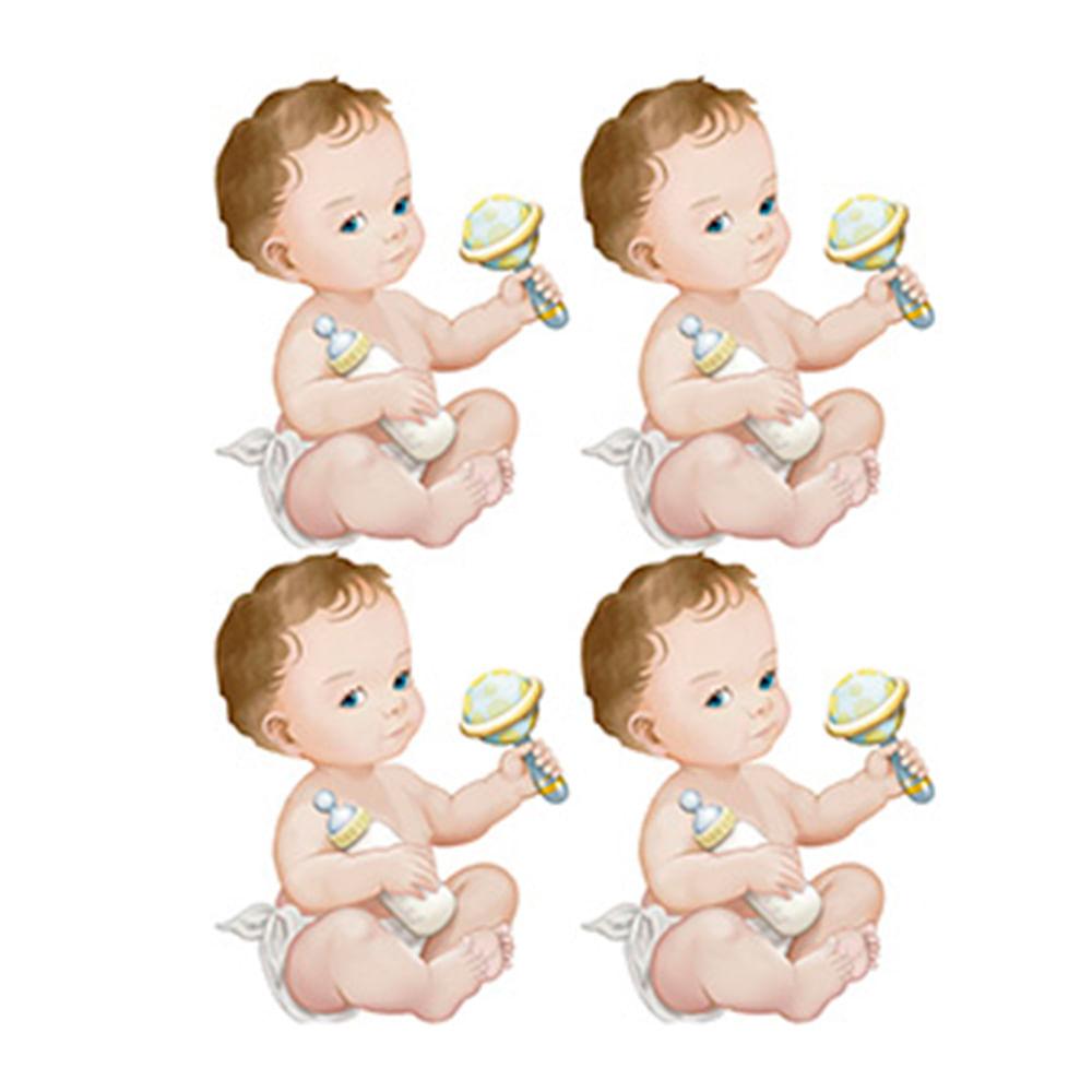 f7f6ec61a Aplique Decoupage Litoarte APM3-225 em Papel e MDF 3cm Bebês Meninos ...