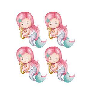 Aplique-Decoupage-Litoarte-APM3-237-em-Papel-e-MDF-3cm-Sereias-Rosa-com-Harpa