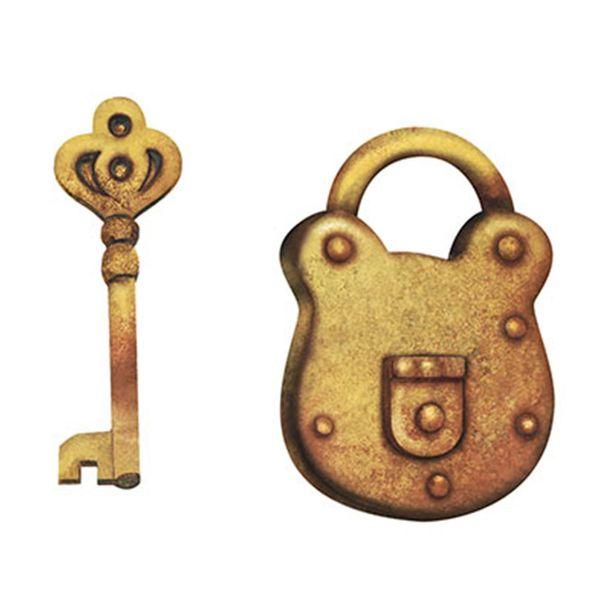 Aplique-Decoupage-Litoarte-APM4-156-em-Papel-e-MDF-4cm-Cadeado-e-Chave-Dourada