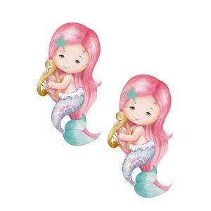 Aplique-Decoupage-Litoarte-APM4-309-em-Papel-e-MDF-4cm-Sereias-Cabelo-Rosa-com-Harpa