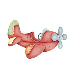 Aplique-Decoupage-Litoarte-APM12-101-em-Papel-e-MDF-12cm-Aviao-Vermelho