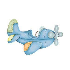 Aplique-Decoupage-Litoarte-APM12-102-em-Papel-e-MDF-12cm-Aviao-Azul