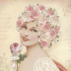 Papel-Decoupage-Adesiva-Litoarte-DA20-082-20x20cm-Dama-com-Flores-Rosas-e-Brancas