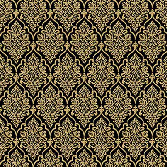 Papel-Scrapbook-Hot-Stamping-Litoarte-SH30-039-30x30cm-Floral-Dourado-Fundo-Preto