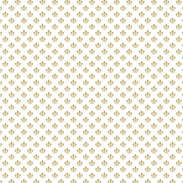 Papel-Scrapbook-Hot-Stamping-Litoarte-SH30-052-30x30cm-Flor-de-Lis-Dourado-Fundo-Branco