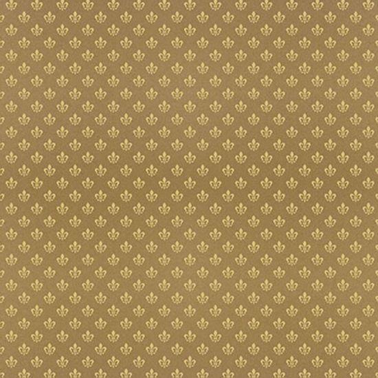 Papel-Scrapbook-Hot-Stamping-Litoarte-SH30-053-30x30cm-Flor-de-Lis-Dourado-Fundo-Marrom