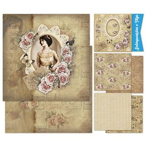 Kit-Papel-Scrap-Decor-Litoarte-KSD-004-305x305cm-6-Folhas-Sortidas-Mulher-e-Rosas-Vintage