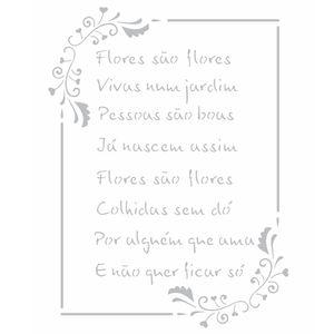 Stencil-Opa-20x25cm-Pintura-Simples-OPA2449-Poema-Flores