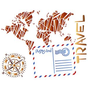 Stencil-Litoarte-25x20cm-Pintura-Simples-STR-044-Travel-Mapa-e-Bussola