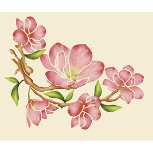 Stencil-Litoarte-25x20cm-Pintura-Simples-STR-050-Magnolias