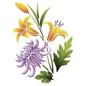 Stencil-Litoarte-25x20cm-Pintura-Simples-STR-053-Dalia-e-Lirios