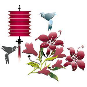 Stencil-Litoarte-25x20cm-Pintura-Simples-STR-057-Lanterna-Japonesa-e-Origami