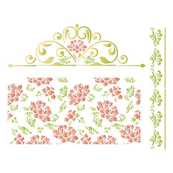 Stencil-Litoarte-25x20cm-Pintura-Simples-STR-064-Padrao-de-Flores-e-Arabescos