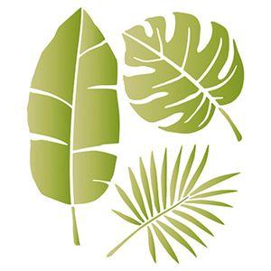 Stencil-Litoarte-25x20cm-Pintura-Simples-STR-076-Folhas-Tropicais