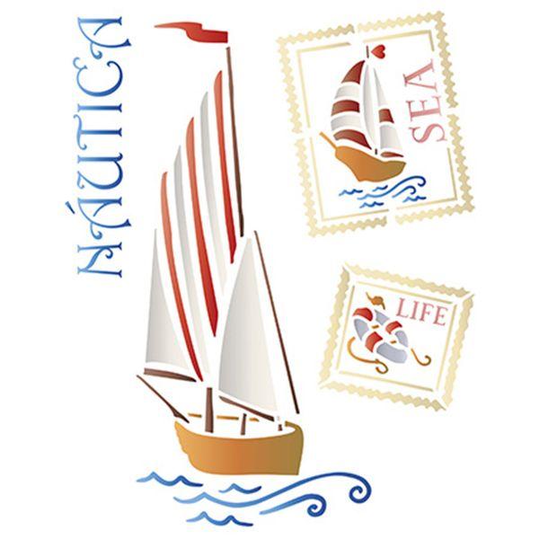 Stencil-Litoarte-25x20cm-Pintura-Simples-STR-078-Nautico-Barco-a-Velas