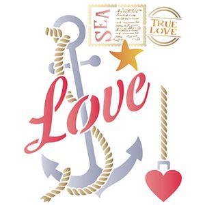Stencil-Litoarte-25x20cm-Pintura-Simples-STR-081-Ancora-Love-e-Selos