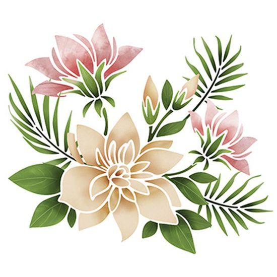 Stencil-Litoarte-25x20cm-Pintura-Simples-STR-049-Arranjo-Magnolias-e-Flores