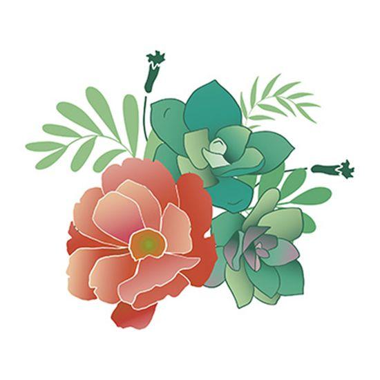 Stencil-Litoarte-20x20cm-Pintura-Simples-STXX-060-Flores-e-Suculentas-Tropicais