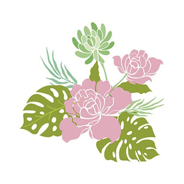 Stencil-Litoarte-20x20cm-Pintura-Simples-STXX-063-Rosas-Dalia-e-Coste-de-Adao