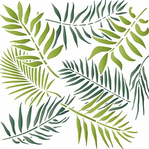 Stencil-Litoarte-20x20cm-Pintura-Simples-STXX-065-Estampa-de-Folhas-Tropicais