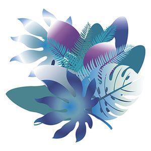 Stencil-Litoarte-20x20cm-Pintura-Simples-STXX-066-Folhas-Tropicais