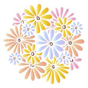 Stencil-Litoarte-20x20cm-Pintura-Simples-STXX-091-Estampa-de-Margaridas