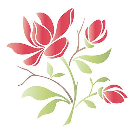 Stencil-Litoarte-20x20cm-Pintura-Simples-STXX-093-Ramo-de-Magnolia