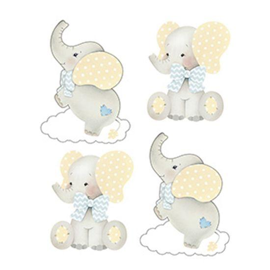 Aplique-Decoupage-Litoarte-APM3-262-em-Papel-e-MDF-3cm-Elefante-Bebe-Menino