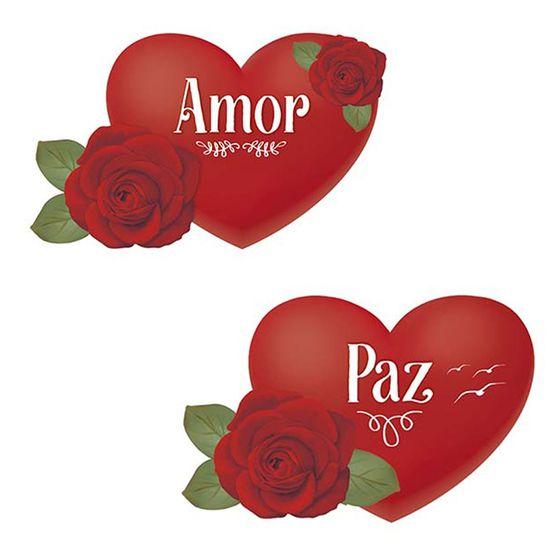 Aplique-Decoupage-Litoarte-APM4-330-em-Papel-e-MDF-4cm-Coracao-com-Rosa-Paz-e-Amor