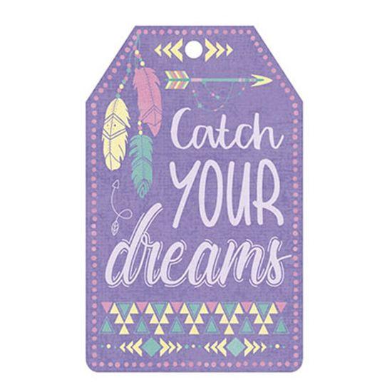Aplique-Decoupage-Litoarte-APM8-1053-em-Papel-e-MDF-8cm-Tag-Catch-Your-Dreams