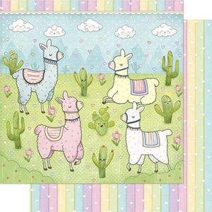 Papel-Scrapbook-Litoarte-305x305cm-SD-841-Lhamas-Infantis-Coloridas