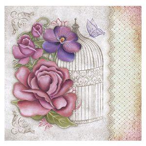 Papel-Scrapbook-Litoarte-305x305cm-SS1-007-Flores-Vintage-com-Gaiola-by-Lili-Negrao