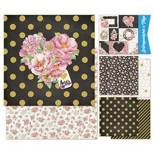 Kit-Papel-Scrap-Decor-Litoarte-KSD-008-305x305cm-6-Folhas-Sortidas-Amor-Flores