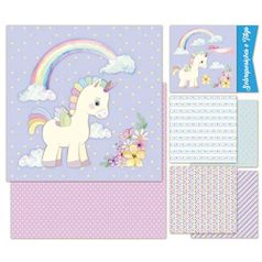 Kit-Papel-Scrap-Decor-Litoarte-KSD-010-305x305cm-6-Folhas-Sortidas-Unicornios