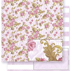 Papel-Scrapbook-Litoarte-SD-308-305x305cm-Floral-com-Rosas-e-Listras