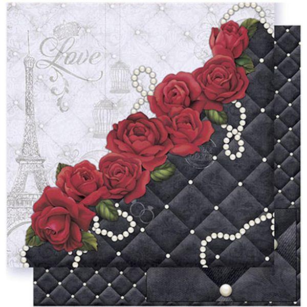 Papel-Scrapbook-Litoarte-SD-374-305x305cm-Rosas-e-Estofado-Preto